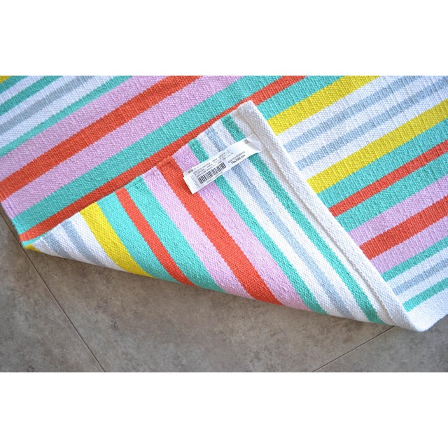 Textile Hand-Made Rug Striped Zara Home Cotton Runner Rug - 2′4″ × 6′8″ For Sale - Image 7 of 9