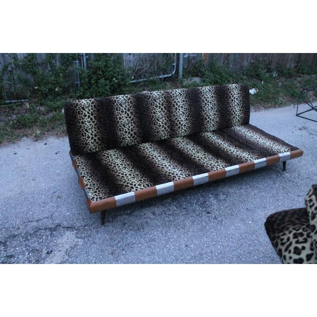 Adrian Pearsall for Craft Associates Chrome Walnut Wood Sofa Couch For Sale - Image 9 of 12