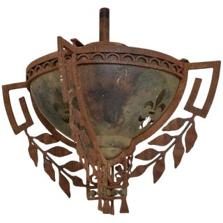 Pendant Light Forged Iron and Stainless Steel For Sale