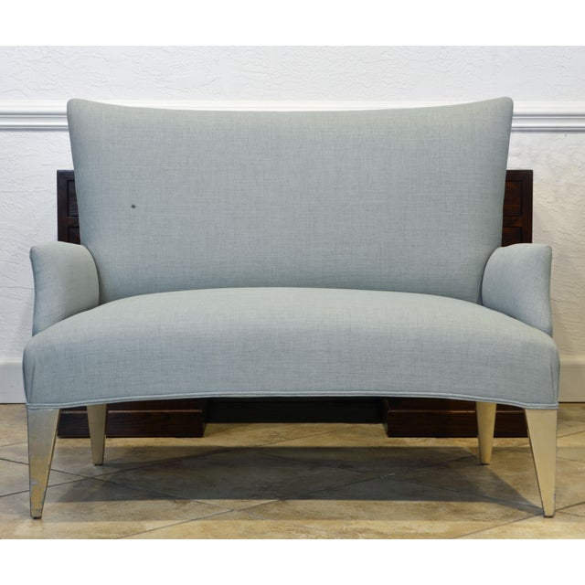 Mid-Century Modern Vintage Ico Parisi Style Seafoam Color Loveseat Settee With Great Curved Lines For Sale - Image 3 of 11