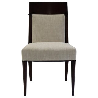 Mahogany Dining Sidechair With Carved Upholstered Back and Seat and Tapered Legs For Sale