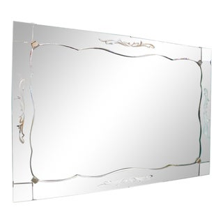 Hollywood Regency Antique Etched Border and Chrome Scroll Mirror For Sale