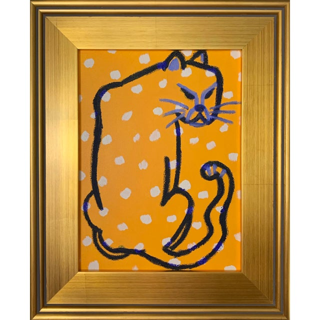 """Unframed Wild Things """"Ultramarine Cheetah"""" Contemporary Painting by Lindsey Weicht For Sale"""