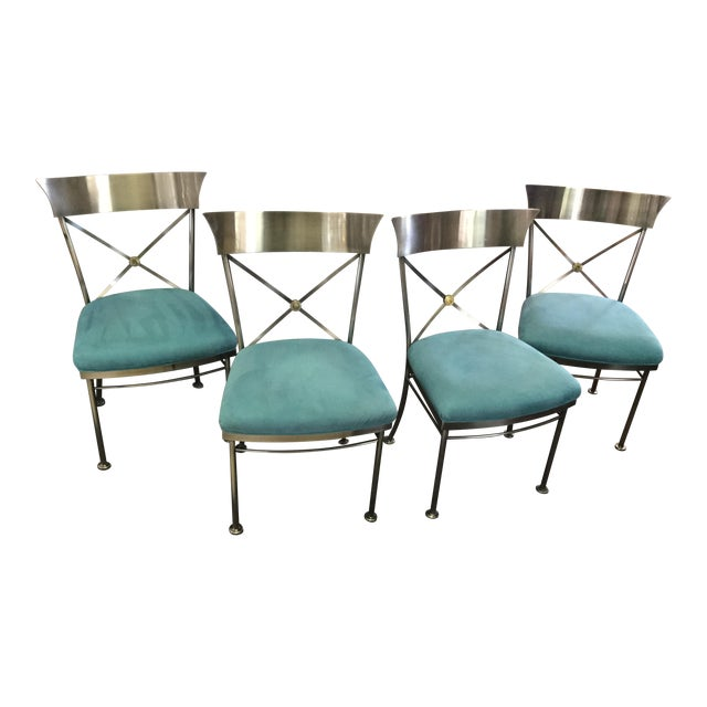 Turquoise Sueded Seat & Brushed Platinum Chairs - Set of 4 For Sale