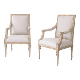 Exceptional Pair of 19th Century Swedish Gustavian Armchairs