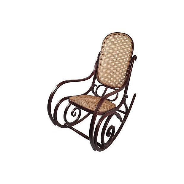 Thonet Attri. Caned Bentwood Rocking Chair - Image 3 of 7
