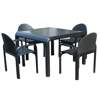 Vintage Knoll Gae Aulenti Dining Table & Leather Chairs Mr3634 For Sale