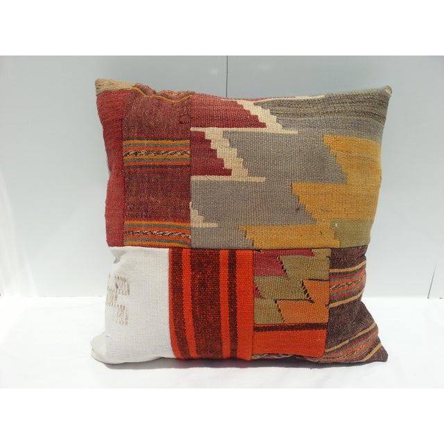 Pillow cover made from handwoven vintage Turkish Anatolian rugs. We collect old vintage rugs, cut them and design our own...
