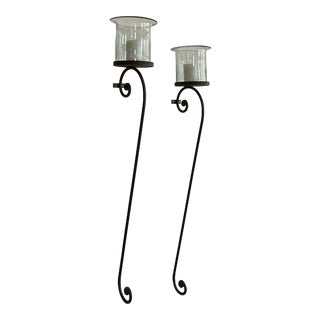 Hand-Forged Wrought Iron Wall Candle Holder & Hand Blown Glass Holders - a Pair For Sale