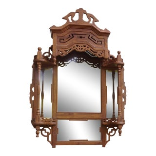 Vintage British Colonial Hand-Carved Teak Wood Mirror For Sale
