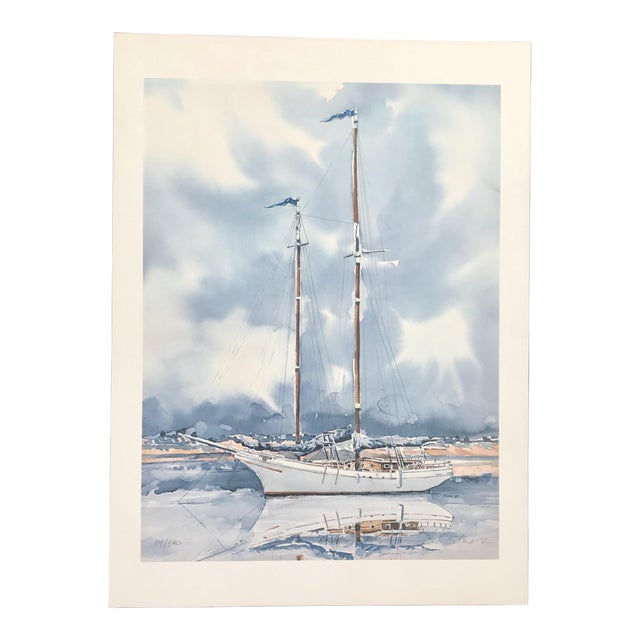 Sailboat Watercolor Print Lithograph - Numbered and Signed For Sale