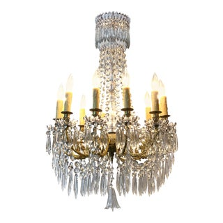 19th Century French Baccarat Gilt Bronze Crystal Chandelier For Sale