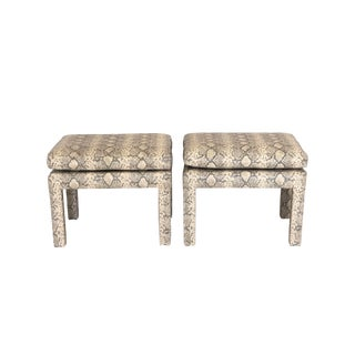 Mid Century Python Parsons Stools/lOttomans, a Pair For Sale