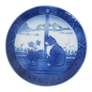 1970s Royal Copenhagen Blue and White Ceramic Hanging Plate For Sale