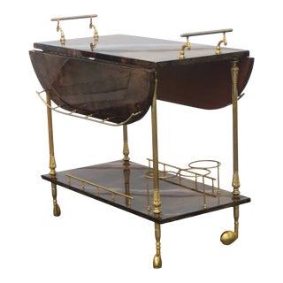 Mid 20th Century Aldo Tura Style Goatskin Drop Leaf Bar Cart For Sale