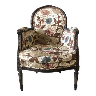 Petite French Louis XVI Hand-Carved Accent Chair in Jasper Michael Smith Fabric
