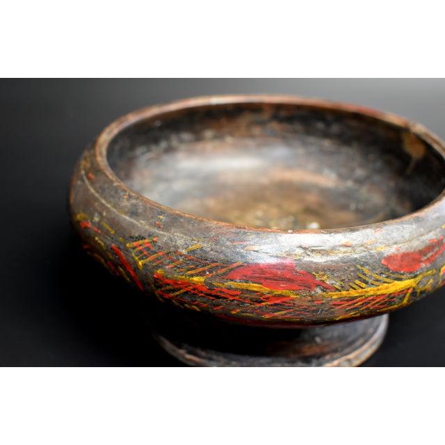Asian Antique Antique Tibetan Wheat Motif Wooden Bowl For Sale - Image 3 of 13