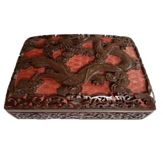 Lacquerware Handwork Carved Dragon Box For Sale