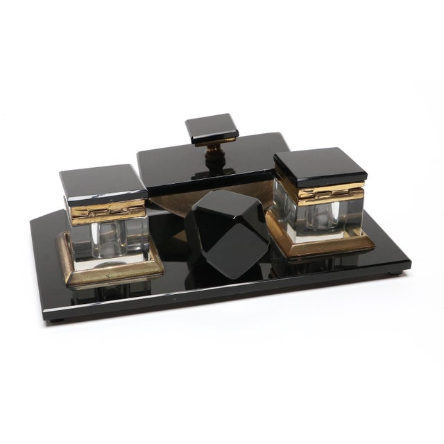 Vintage 1950s Black Glass Desk Set For Sale - Image 4 of 5