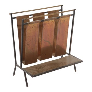 French Brass Wrought Iron Magazine Rack in the Manner of Jacques Adnet