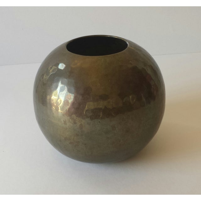 Vintage Hammered Brass Round Ball Vase - Image 5 of 5