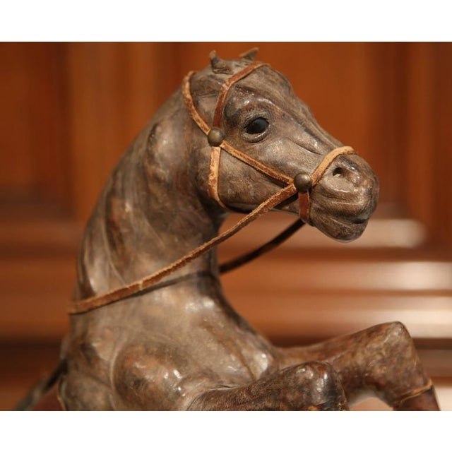 Late 19th Century 19th Century French Carved & Patinated Leather Rearing Horse Sculpture For Sale - Image 5 of 7