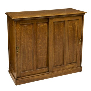 American Golden Oak Storage Cabinet For Sale