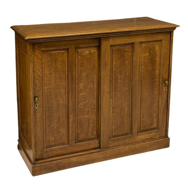 American Golden Oak Storage Cabinet For Sale