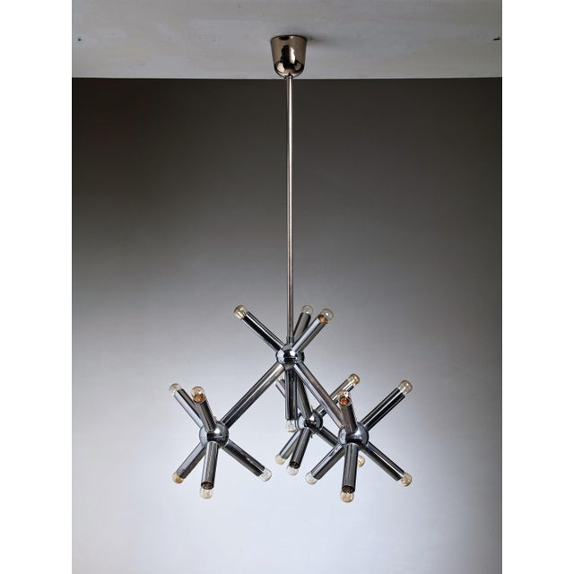 Mid-Century Modern Modernist Metal Chandelier, Germany, 1960s For Sale - Image 3 of 3