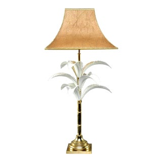 Hollywood Regency Brass Lamp With Parchment Shade For Sale