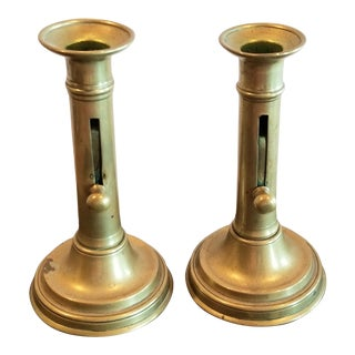 Antique Brass Pushup Candlesticks For Sale