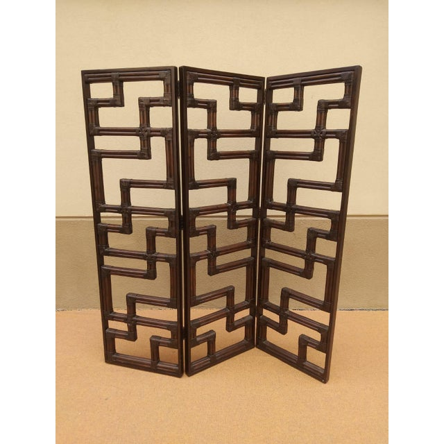 Bundled Reed Rattan Chinese Chippendale Room Divider For Sale - Image 10 of 10