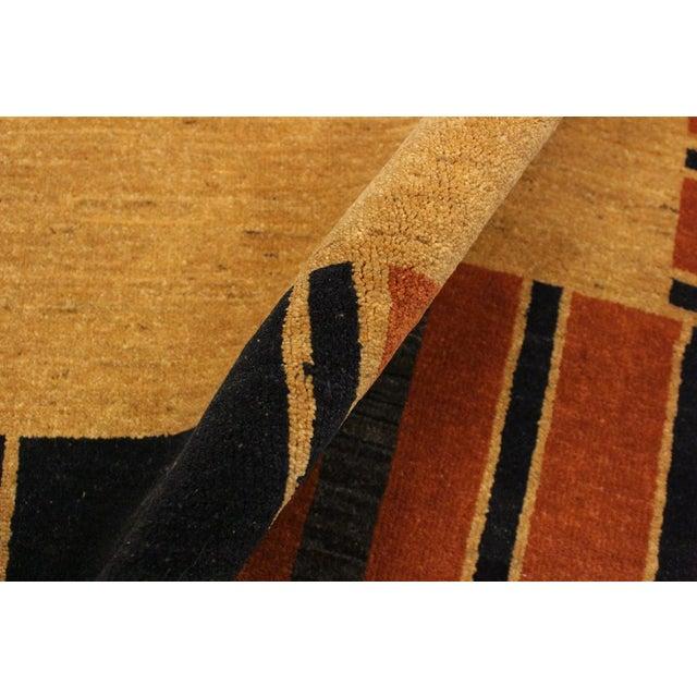 Gabbeh Jenee Tan/Blue Wool Area Rug -5'1 X 6'5 For Sale - Image 4 of 8