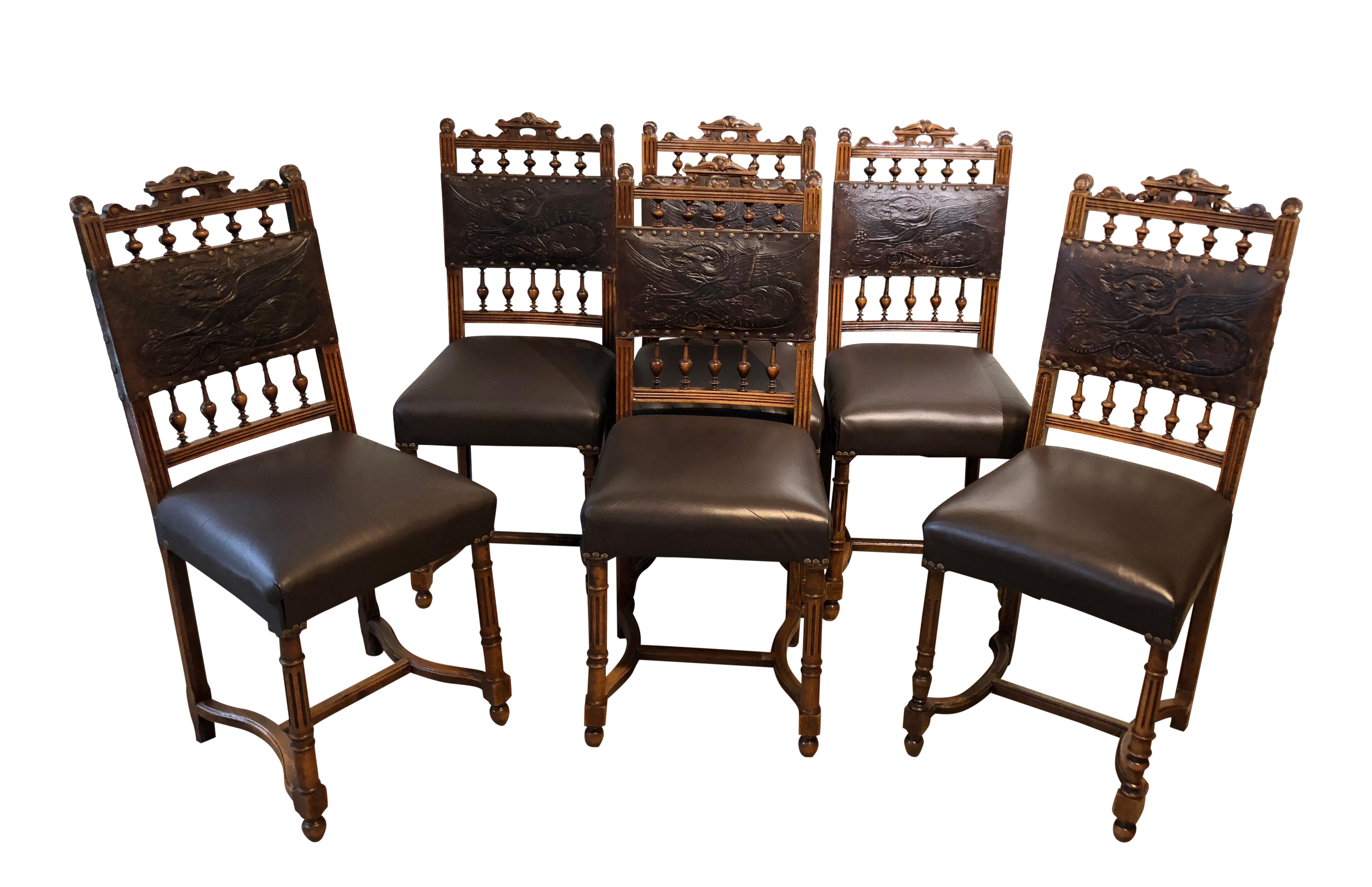 1940s Vintage Spanish Gothic Style Leather Backed Dragon Motif  Re Upholstered Chairs  Set Of