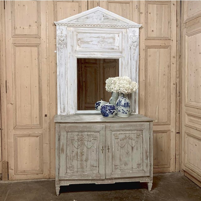 19th Century French Classical Trumeau features architecture that would make any ancient Greek statesman proud! Hand-carved...