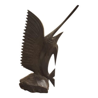 Vintage Circa 1970 Sailfish Hand Carved Ironwood Sculpture For Sale