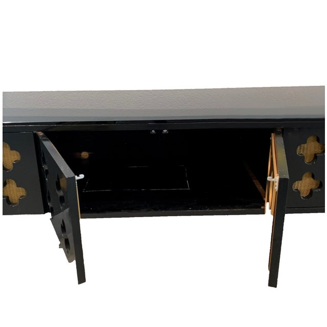 Mid-Century Modern Moroccan Low Console Table With Moorish Cut Outs and Brass Accents For Sale - Image 3 of 8