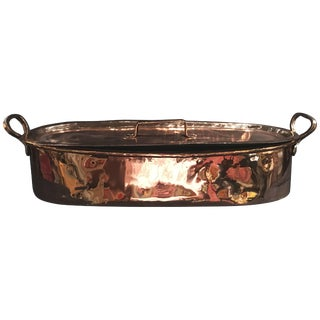 French Polished Copper Fish Kettle With Lid, 19th Century For Sale