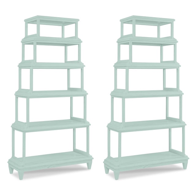 Casa Cosima Home Jules Etagere in Palladian Blue - a Pair For Sale - Image 4 of 4