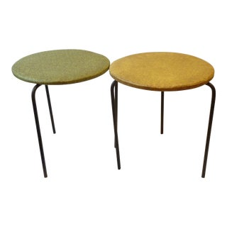 1950's Modern Iron Tripod Stools - A Pair For Sale