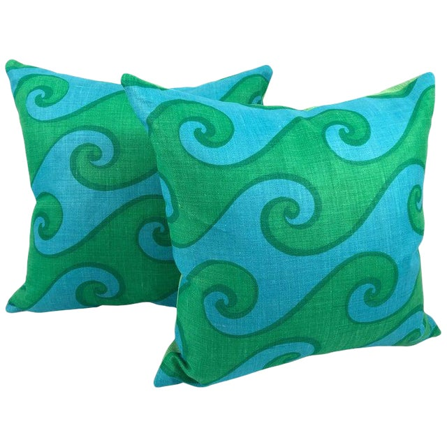 Vintage Blue and Green Sea Scroll Pattern Pillows Hand Printed by Elenhank - a Pair For Sale