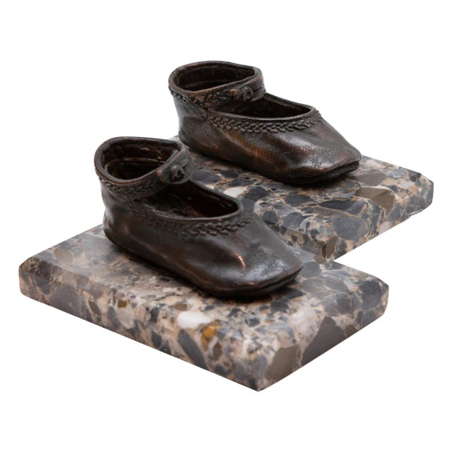 Bronze Ballerina Style Baby Shoes Weights with Marble Base - A Pair For Sale In New York - Image 6 of 6