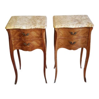 Vintage French Louis XV Parquetry Bombe Chest Bedside Tables - a Pair For Sale