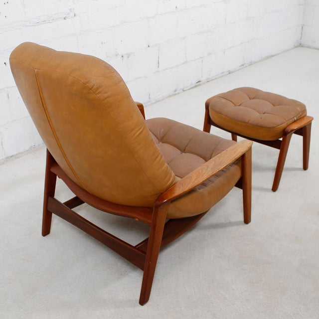 Leather Mid-Century Modern Lounge Chair & Ottoman - Image 5 of 9