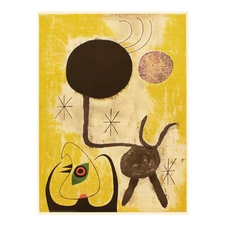 "Rare 1940s Juan Miró ""Woman and Birds in Front of the Sun"", First Edition Period Swiss Lithograph For Sale"