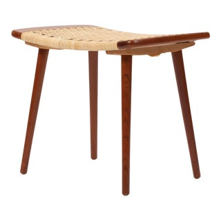 Danish Cane and Teak Stool or Ottoman For Sale