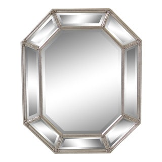 1990s Vintage Friedman Brothers Silver Framed Beveled Glass Octagonal Mirror For Sale