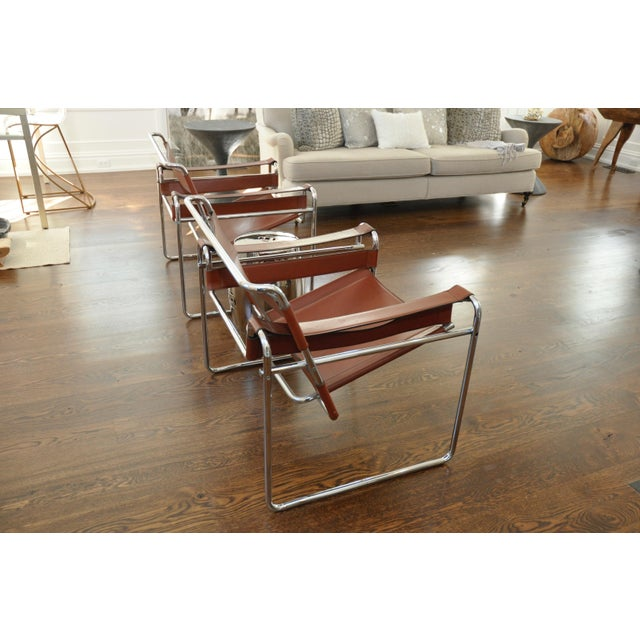 Reproduction Mid-Century Wassily Leather & Chrome Chairs - Pair - Image 8 of 9