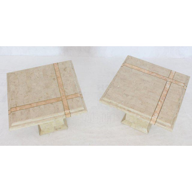 Pair of Tessellated Stone Tile Square Pedestal Shape End Side Tables Stands - A Pair For Sale - Image 11 of 11