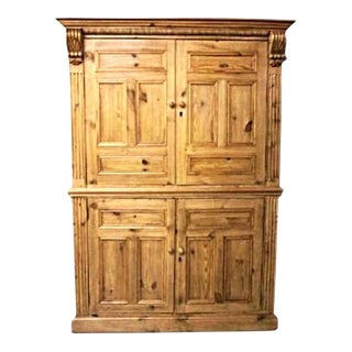 Dutch Pine Armoire Linen Press Cupboard Cabinet Bookcase Buffet Wardrobe Antique For Sale